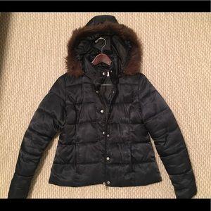 MERONA Black Puffer Coat w/ Faux Fur Trim
